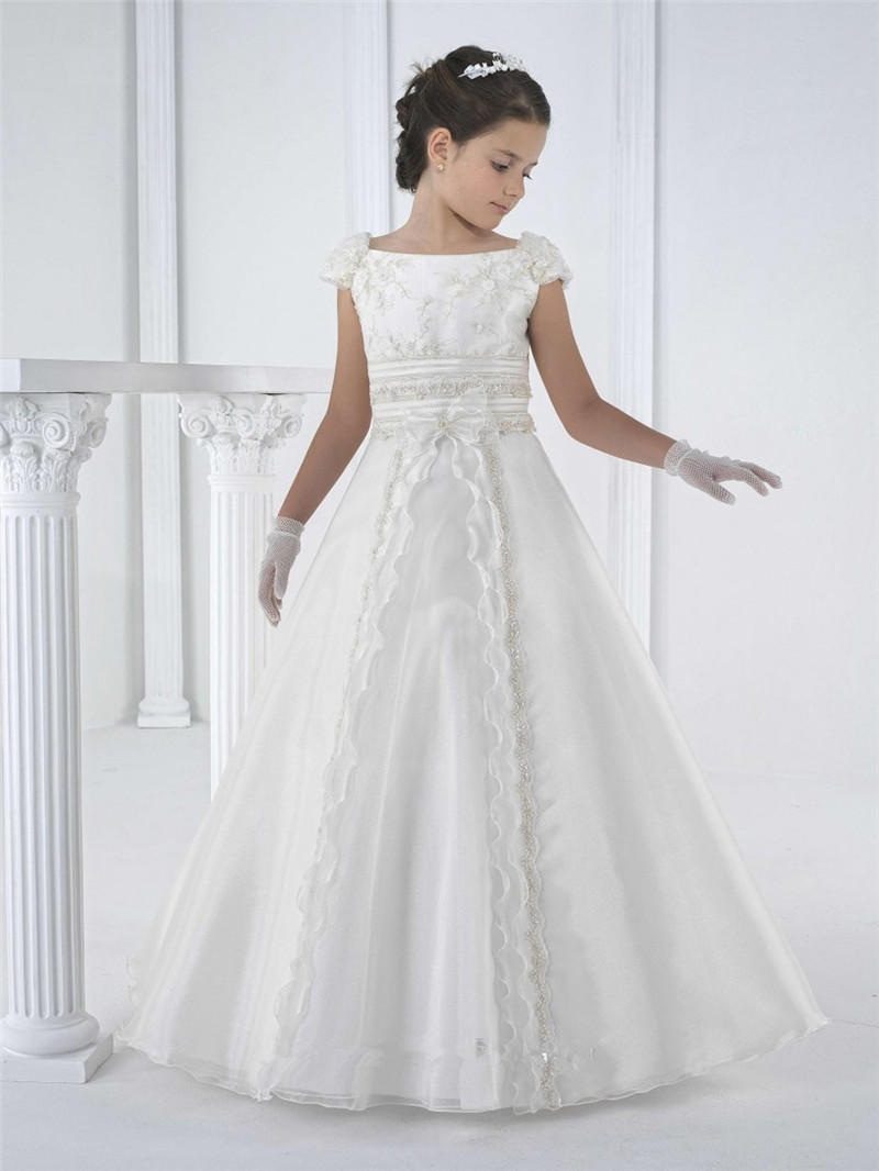 2016 graceful girls first holy communion dresses for little girls white sleeveless halter cheap. Black Bedroom Furniture Sets. Home Design Ideas