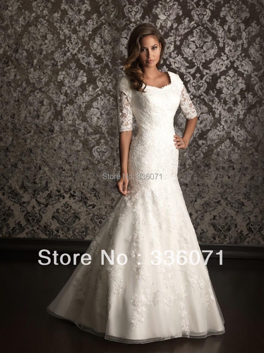 Brand designer 2013 new arrival floor length mermaid for Lace modest wedding dresses