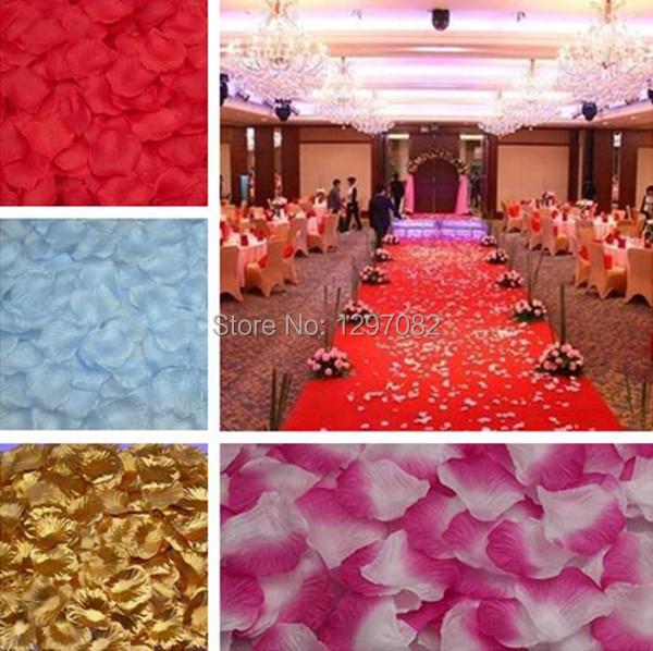 Top selling 500 pcs or 1000pcs Silk Rose Flower Petals Leaves Wedding Decorations Party Festival Table Confetti Decor 8 colors(China (Mainland))