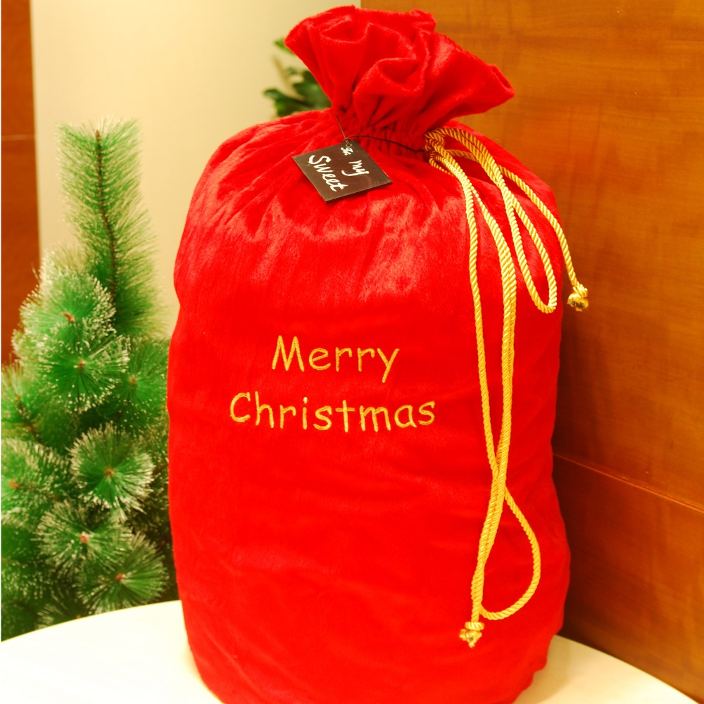 Free shipping Christmas Santa gift sack present toy bag XLarge size Approx 68cm / 26.7in(China (Mainland))
