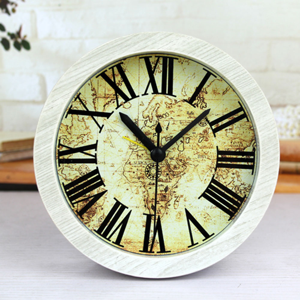 European Retro Style Voyage Map Desk Clock Roman Numbers Table Clock Alarm Clock Silent Clock Wood Imitation Home Decor(China (Mainland))
