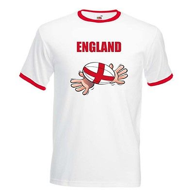 England Flag Rugby Ball World Supporters Cup Ringer/Baseball T Shirt(China (Mainland))
