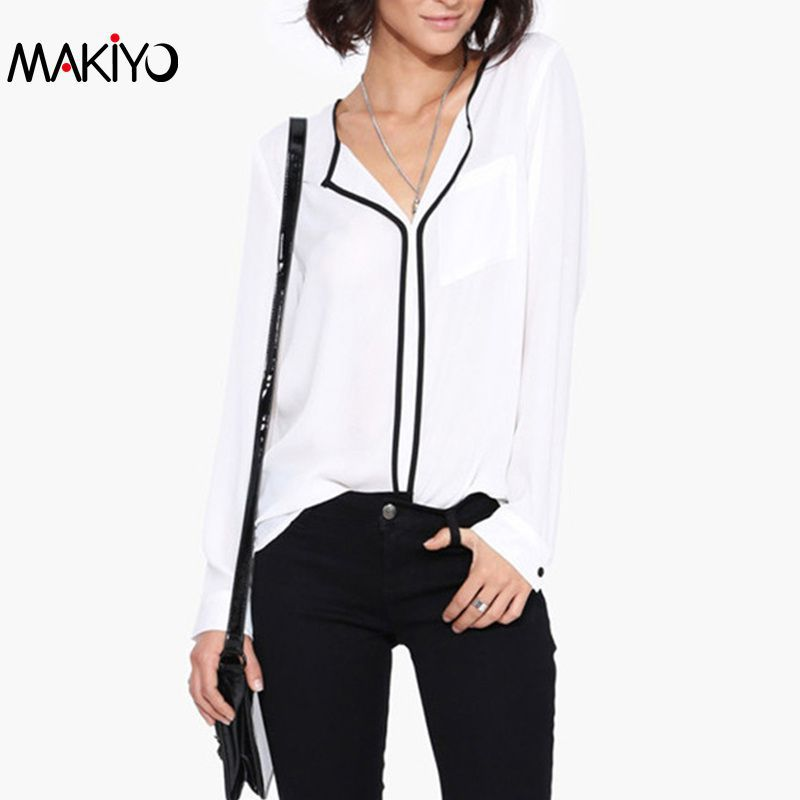 Summer Style Fashion Womens Casual White V Neck Long Sleeve Black Side Chiffon Blouse Shirt Work Wear Women Tops(China (Mainland))