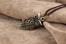 Leather Necklace Women Leather Chain Vintage Little Owl Pendant Necklaces European Brand Jewelry Cool Punk VLN451