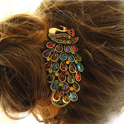 Boutique High Quality New deaign Fashion Flash Peacock Crystal hair band for women summer dress 2014 !Jewelry wholesale(China (Mainland))