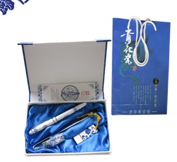 Blue and white pen set blue and white pen usb flash drive bookmark gift pen business promotional gift