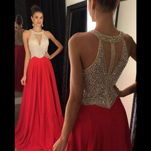 Vestidos de Fiesta 2016 Long Evening Dresses Red Chiffon A line Formal Long Dress Halter Custom made Homecoming Prom Dresses(China (Mainland))