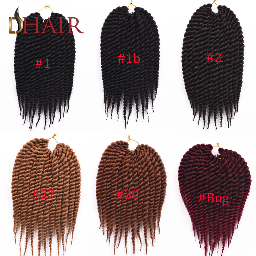 6 Different Colors 12inch 2X Havana Mambo Twist Expression Braiding Hair Senegalese Afro Twist Synthetic Marley Braid Hair(China (Mainland))