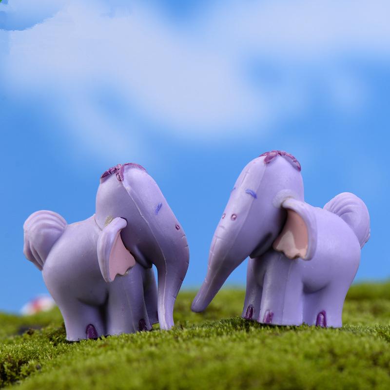 2pcs Elephant Figurine Small Cartoon Miniature Craft Resin Fairy Cute Resin Animal Figurines Lot Kawaii Elephant Figurine L1946(China (Mainland))
