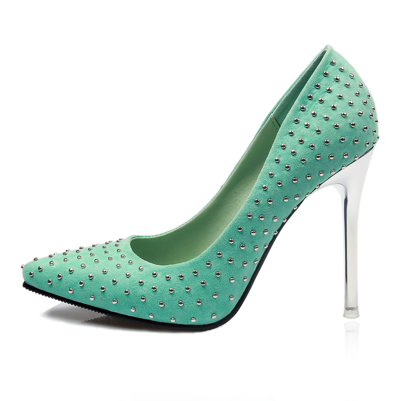 Chic Ladies Rivet Pointy Toe Stiletto High Heels Pumps Party Mary Janes Shoes HD02A - Rosy Strore store