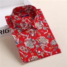 Brand New Floral Women Shirts Cotton Long Sleeve Shirt Vintage Printed Turn-down Collar Ladies Blouses Women Tops Fashion 2016(China (Mainland))