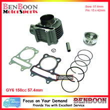 GY6 150cc 57.4mm Cylinder Kit 157QMJ Chinese Scooter Parts ATV Parts Znen Baja Baotian Peace Taotao Icebear Romet Free Shipping