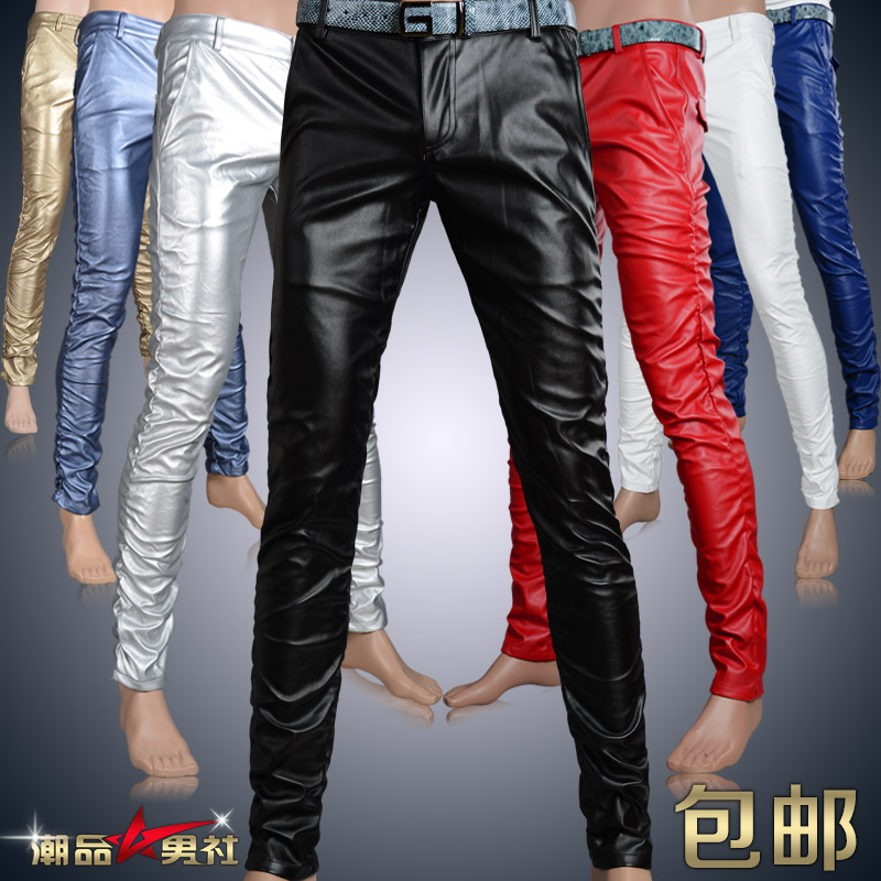 2015 fashion mens Leisure Winter clothing personality men's tight PU leather pants plus velvet male singer slim black trousers