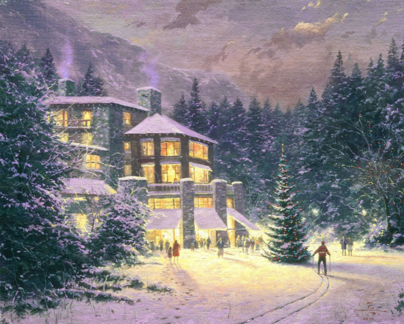 Thomas kinkade Prints on canvas famous oil painting Print reproduction landscape home decor wall Christmas-At-The-Ahwahnee(China (Mainland))