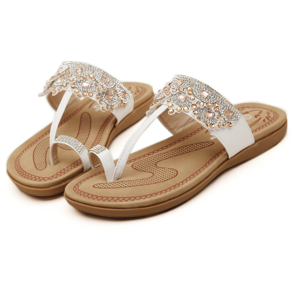 New 2016 fashion rhinestone women sandals flat slip-on slippers summer shoes rasteirinha feminina calzado mujer