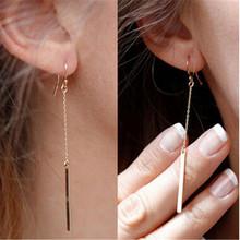 2016 New simple Fashion stripe Long Drop Tassel Earrings As Christma Gift Luxury Vintage earrings For Women feminino(China (Mainland))