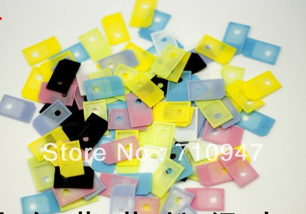 Free shipping 100pcs Micro Sim Card Adapters Micro SIM adapter For iPhone4 -multicolour