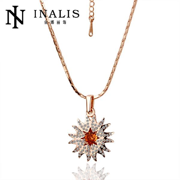 N025 Wholesale Women African Wedding Accessories Crystal 18K Gold Fine Jewelry Choker Statement Necklace Pendants Chain collar(China (Mainland))