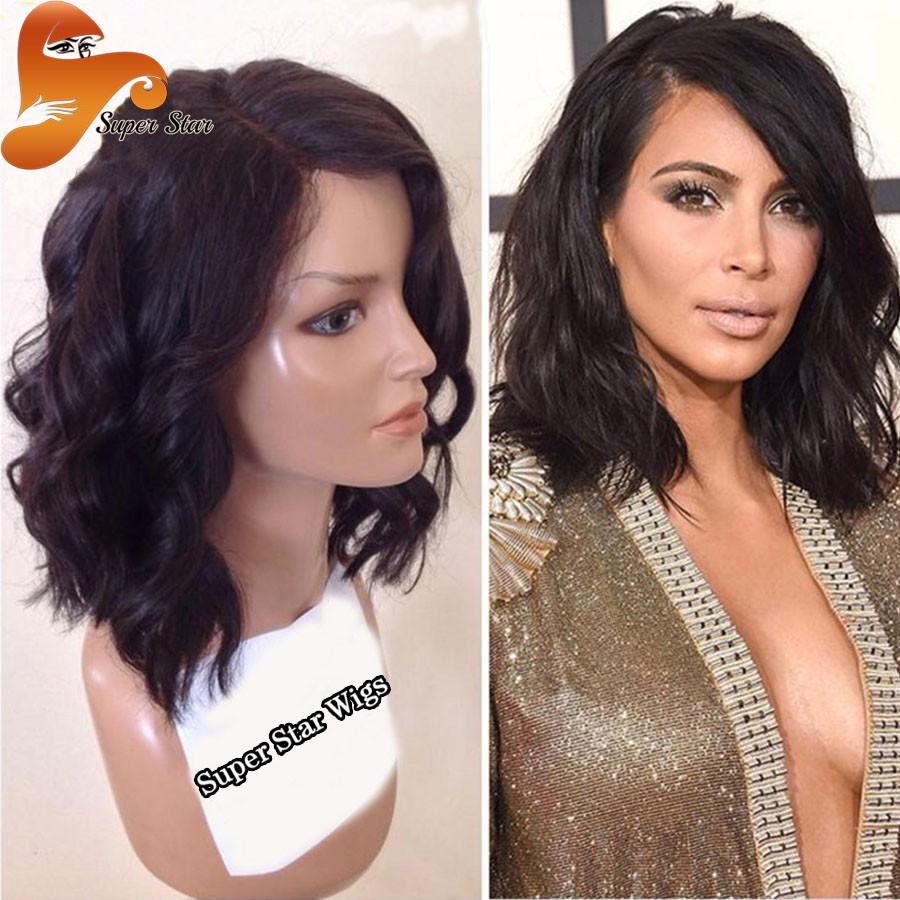 1 6A Glueless Full Lace Wigs Virgin Brazilian Short Wavy Bob Full Lace Human Hair Wigs For Black Women Short Bob Lace Front Wigs