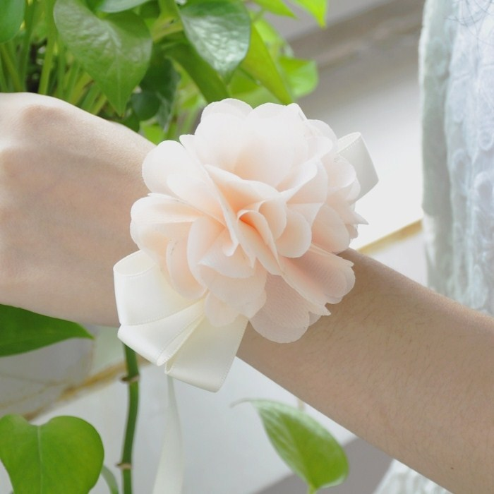 hand-champagne bridal bridesmaid hand wrist flower corsage theme wedding decoration accessories - Yiwu Zilue Trading Co.,Ltd Store store