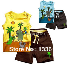 Toddlers Boy s Outfits Clothes Set Coconut Tree Pattern Sleeveless Tops Pants 0 3Y Free Drop