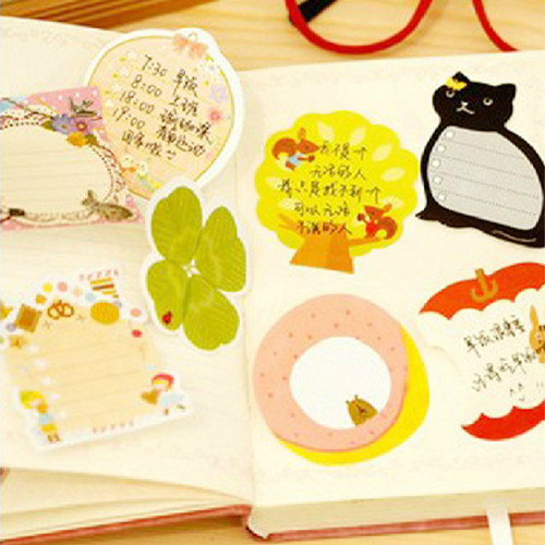 cartoon stationery series sticky n times stickers memo pad stickers stationery forest 8 styles(China (Mainland))