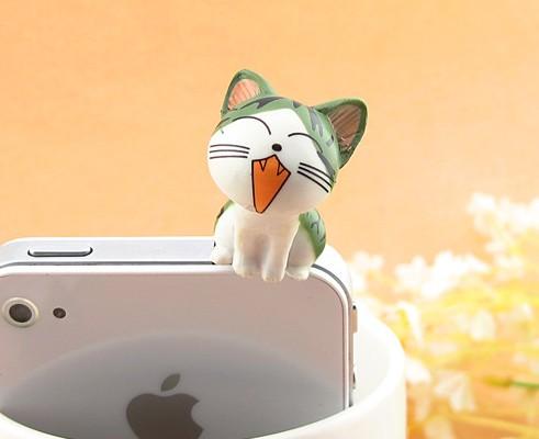 3pcs/lot Lovely 3D Green Chi's Cat Mobile Phone Earcap Earphone Stopper Anti Jack Dust Plug For All 3.5mm Earphone Dust Plug(China (Mainland))