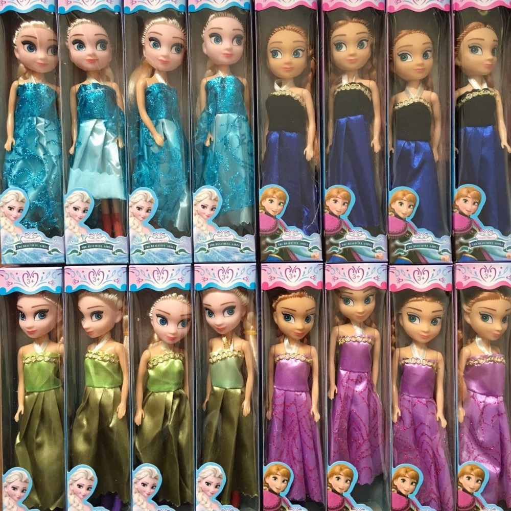 2016 New Baby Dolls Snow Queen Princess Anna Elsa Dolls Mini Elsa Doll Kids Toys carttoon dolls children gift Girls birthday(China (Mainland))