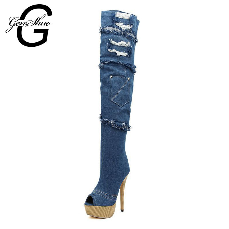 New Sexy Denim High Heel Over The Knee Long Boots Women Ladies Summer Style Plus Big Size Booties Shoes Size 35-43 X032