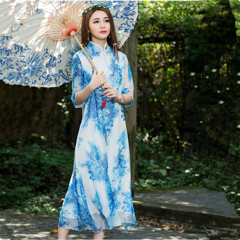 Nature Color Print Maxi Dress Summer New Chinese Style Women Traditional Clothes Fashion 2016 High Quality Design(China (Mainland))