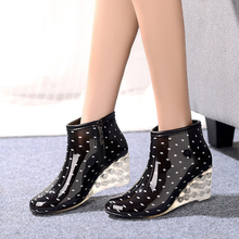 Direct Selling New Botas Mujer Short Rain Boots For Women High-heeled Ladies Cotton Removable Water Shoes Botas Agua Mujer bot