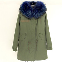 Dropshipping 2016 14colors Army Green Cold winter coat women long real fur coat big raccoon Fur collar hooded thick warm Parkas(China (Mainland))