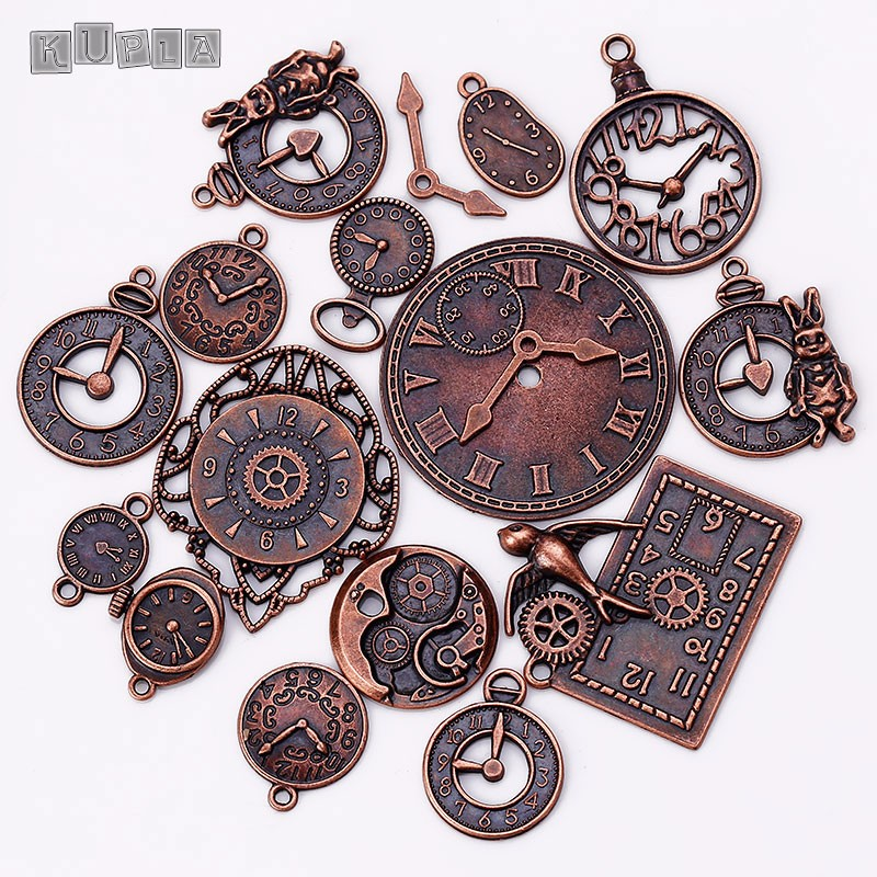 18pcs/lot Steampunk Clock Charms for Jewelry Making Diy