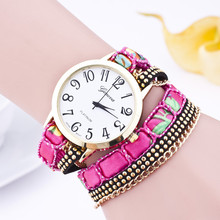 New Arrival Rivet Leather Strap Bracelet Watches 2015 Geneva Brand Fashion Casual Watch Gold Link Chain