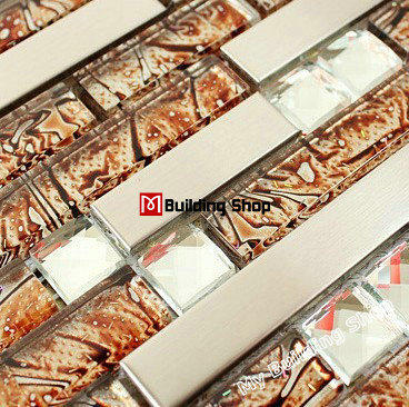 Stainless steel glass mosaic tile SSMT175 kitchen glass tiles stainless steel tile backsplash diamond glass mosaic bathroom tile<br>