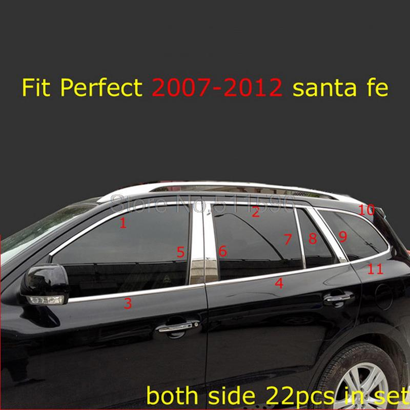 Fit for Hyundai Santa fe 2007 2008 2009 2010 2011 2012 Stainless steel Window Frame Sill Belt Trims Pilar Sill Auto Parts 22pcs(China (Mainland))