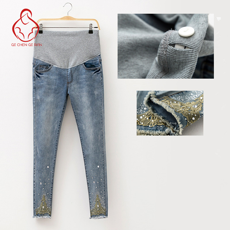 2017 Spring Jeans Maternity Pregnant Women Pants Fashion Hot Beads Maternity Pants Pregnant Trousers Maternity Pregnant Clothes(China (Mainland))