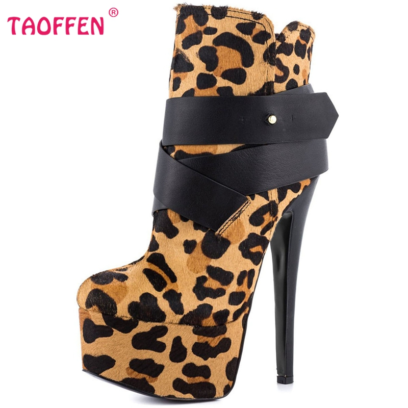 Фотография Women High Heel Boots Thin Heels Platform Shoes Woman Sexy Leopard Quality Vintage Botas Party Heeled Footwear Size 35-46 B020