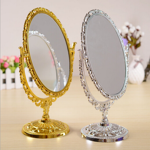 Luxury European Style Oval double sided vintage plastic painted Mirror High Quality Desktop Mirror WH0159(China (Mainland))