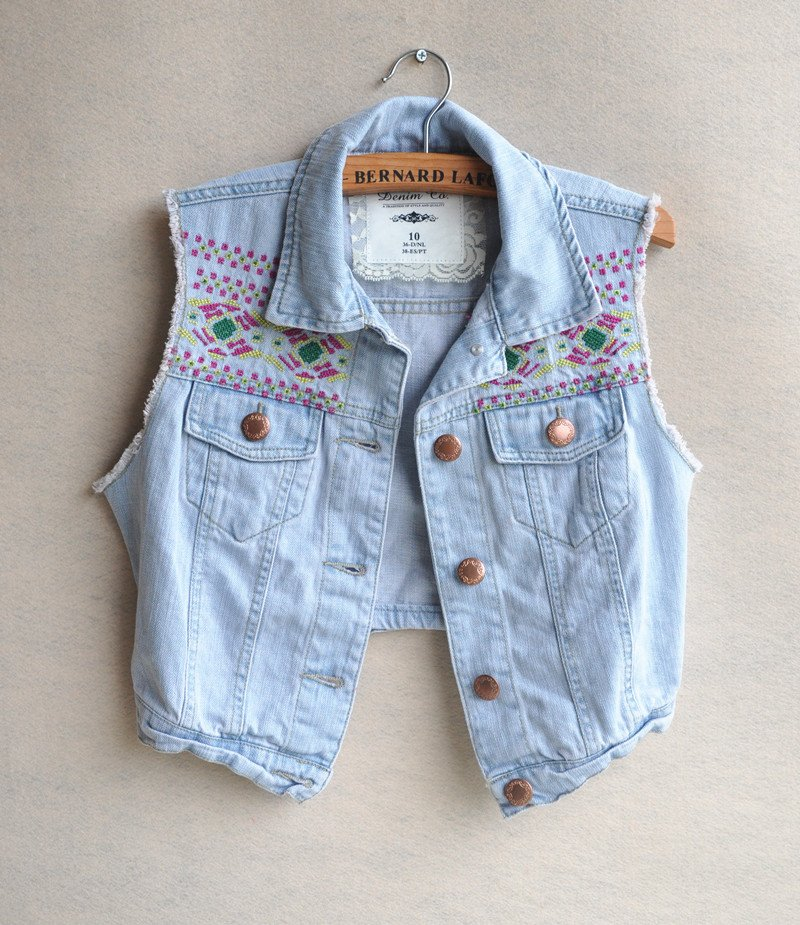 2014 New Special Design Embroidery Vintage Pattern Short Casual Denim Vest Jean Jacket,Fashion Women Spring Autumn Jeans Outwear