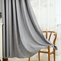 6 Colors Solid Grommet Linen Window Curtain Foam Lined Blackout Thermal Treatment 200cm x 100cm