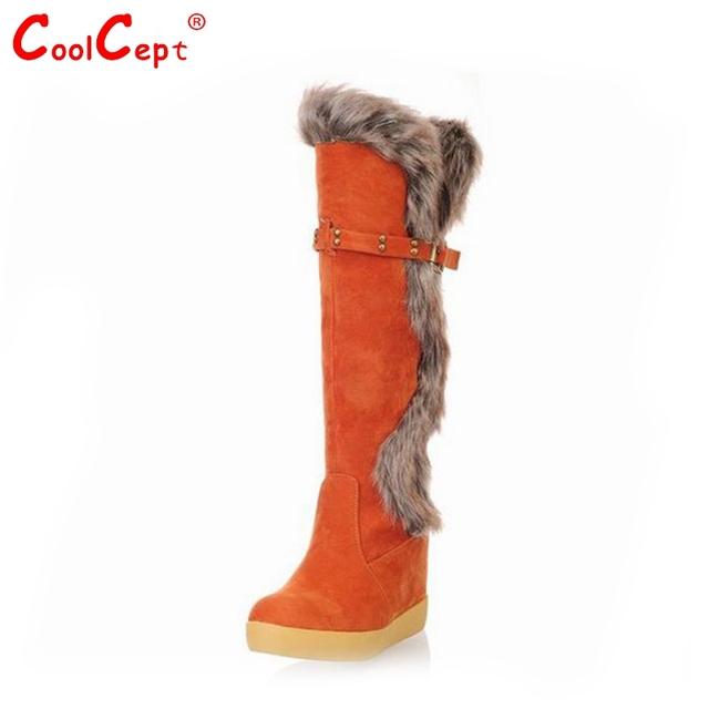 Мех теплый колено высокие сапоги женщины леди мода снег россии зима обувь клин обувь ...