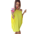 Autumn Women Sexy Irregular Loose Evening Party Dress Female Casual Shoulder Off Bandege Tunic Bat Sleeve