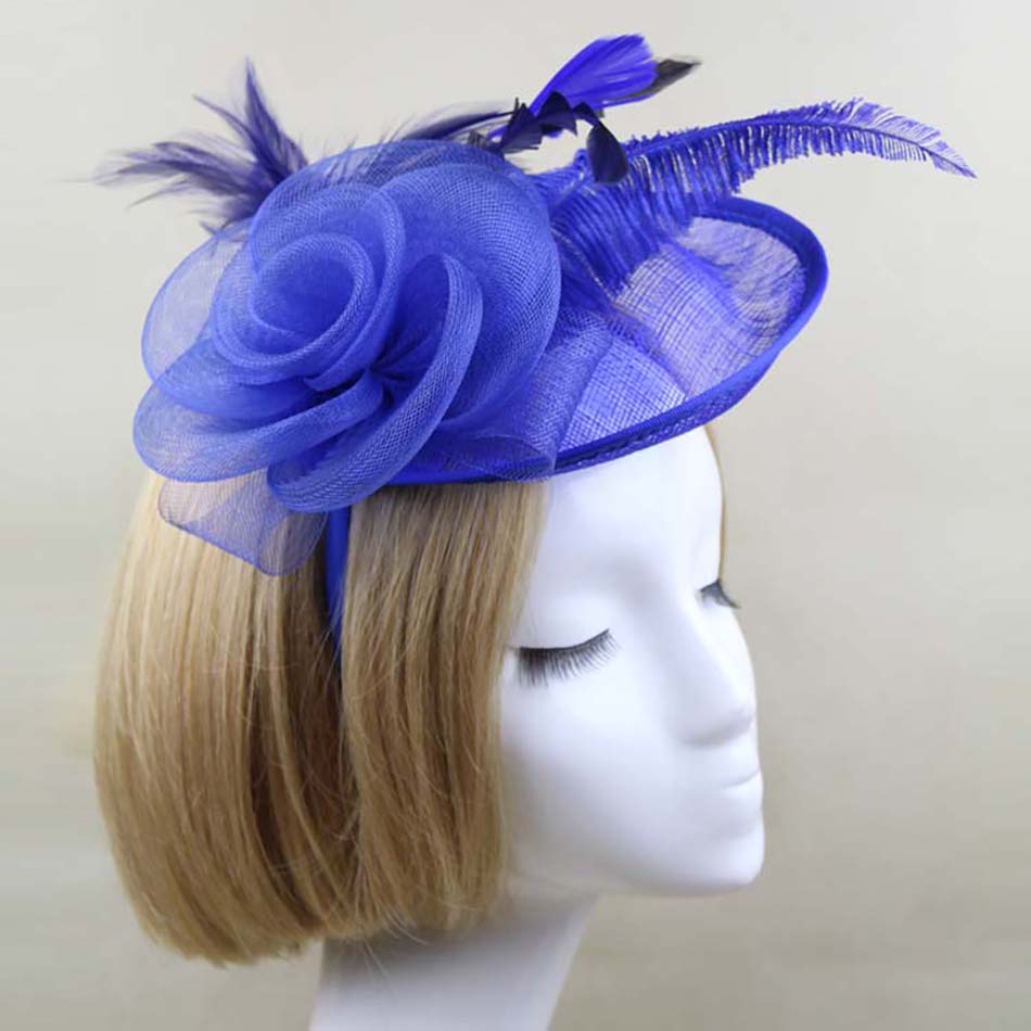 Fashion women wedding hats and fascinators lace feather fascinator hat with hairband fashion hair bow rose flower headband(China (Mainland))