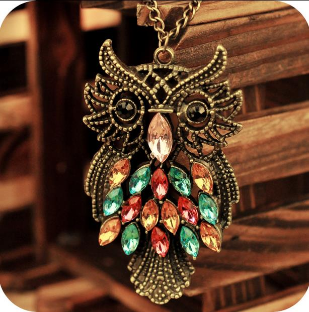 OMH wholesale Fashion Jewelry Vintage Multicoloured Crystal Owl Pendant Alloy Link Chain Women Necklace XL118(China (Mainland))