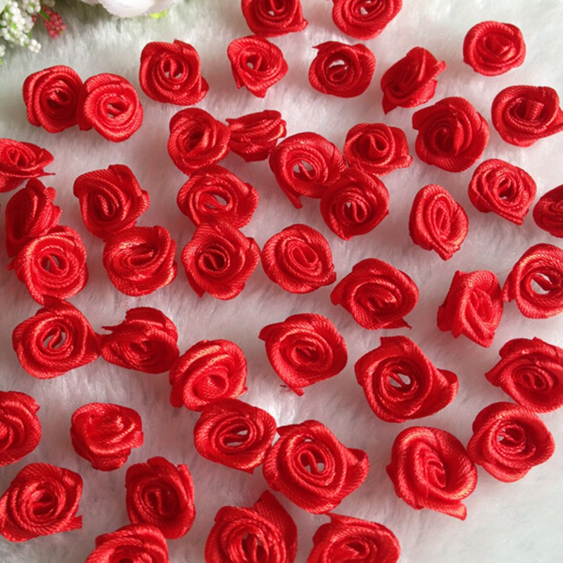 10Red Ribbon Rose Flowers Wedding Decoration DIY Crafts Apparel Accessories Sewing Appliques 15MM A662 - shop 888 store