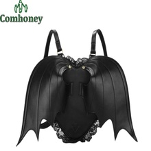 Bat Wing Backpack for Women Punk Stylish Newest School Bag for Girls Bat Bag Angel Wings Backpack Cute Little Devil Package(China (Mainland))