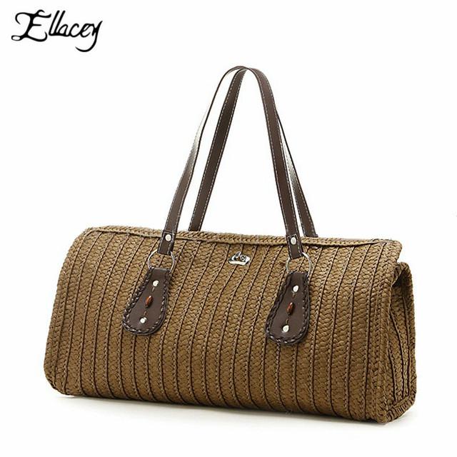 2016 Women's Straw Beach Bag High Quality Fashion Designers Handbags Beach Bags Straw Tote Shoulder Bag Women Straw Handbag