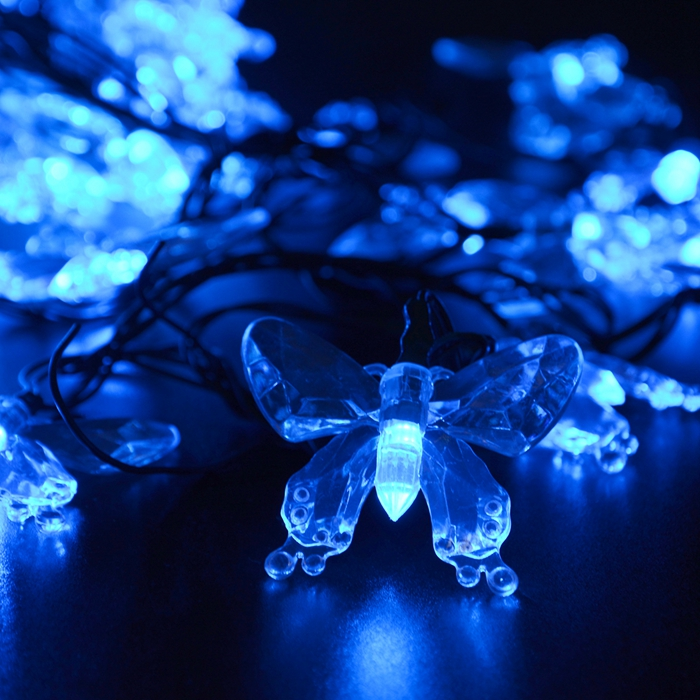 7.5M 40 Leds Energy Solar Fairy LED String Light Novelty Butterfly Lamps Outdoor 2016 Festival Party Garden Decoration Lights(China (Mainland))