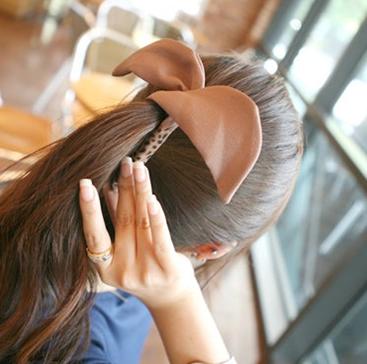 hair accessory rabbit ears banana clip leopard print fabric wafer vertical 2 - SKA-sakura store